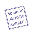 spain international travel visa stamp isolated on vector image
