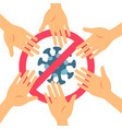 stop coronavirus with red prohibit no hand vector image