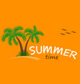 summer time background two palm trees vector image vector image
