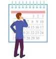 time management man planning workflow calendar vector image vector image