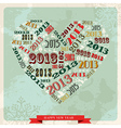 Vintage Happy New year 2013 concept heart vector image