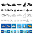 water and sea transport flat icons in set vector image vector image