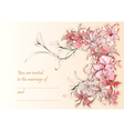 wedding card with flowers vector image