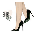 woman beautiful legs on stileto high heels shoes vector image