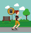 young woman jogging sport smartphone heart beat in vector image