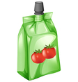 A tomato juice in a drinking pouch vector image vector image
