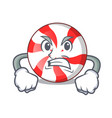 angry peppermint candy mascot cartoon vector image vector image