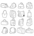 bag types icons set flat style vector image