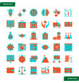 banking and financial flat icons set vector image vector image