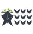 bat sleeping hanging upside down on branch vector image