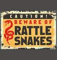 beware rattlesnakes vector image vector image