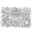 black and white with little gnomes vector image vector image