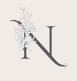 blooming floral initial n monogram and logo vector image vector image