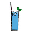 blue cocktail glass with mint ice straw and vector image vector image