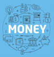blue line flat circle money vector image