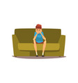 bored young man sitting on the couch vector image vector image