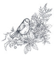 bouquet with hand drawn blossom branches and bird vector image vector image