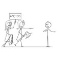 cartoon of two women with me too sign going to vector image