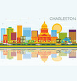 charleston skyline with color buildings blue sky vector image vector image