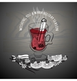 Christmas mulled wine Glass of drink and hand vector image