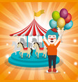 clown with carousel circus show vector image vector image