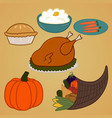 collection of various dishes and food for a vector image vector image