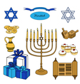 colorful set of Hanukkah objects Jewish holidays vector image