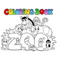 coloring book zoo sign with animals vector image