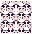 cute panda head cartoon seamless pattern vector image vector image