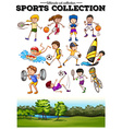 Diverse sport set and green field vector image