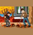 father son raking leaves during fall season vector image vector image