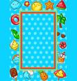 frame with cute kawaii summer items vector image vector image