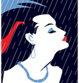 French Woman in evening dress under rain vector image
