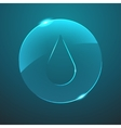 glass blue drop in circle icon vector image vector image
