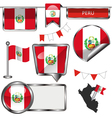 Glossy icons with Peruvian flag vector image vector image