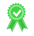 green approved or certified medal icon in a flat vector image