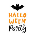 halloween party handwritten lettering vector image
