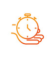 hand with stopwatch sport gym fitness line vector image