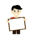 happy boy holding board icon vector image vector image