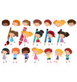 happy children with different writing tools vector image vector image