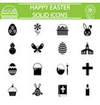happy easter solid icon set vector image vector image
