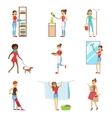 Happy Modern Housewives Shopping And Housekeeping vector image vector image