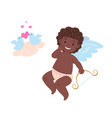 isolated black african cupid holding bow vector image vector image