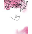 line art abstract beautiful female face 2 vector image vector image