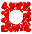 Pattern with white paper and red hearts vector image vector image