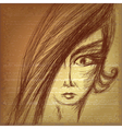 Pencil sketch of young girl vector image vector image