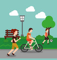 people sport activity in the park vector image