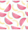 pieces of watermelon and melon seamless pattern vector image vector image