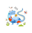 playful monster alien dragon or dinosaur vector image vector image