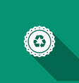 recycle symbol label icon with long shadow vector image vector image